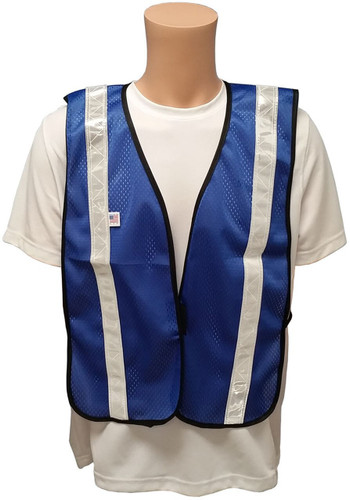 Soft Mesh Royal Blue Vests with Silver Stripes - Front View