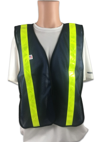 Soft Mesh Navy Blue Vests with Lime Stripes Front View