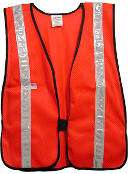 Hi Viz Red Soft Mesh Safety Vests with 1.5 inch Silver Stripes pic 2