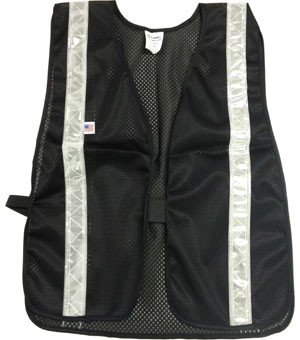 Soft Mesh Black Safety Vests with Silver Stripes pic 2