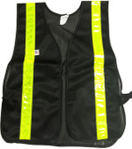 Soft Mesh Black Safety Vests with Lime Stripes pic 2