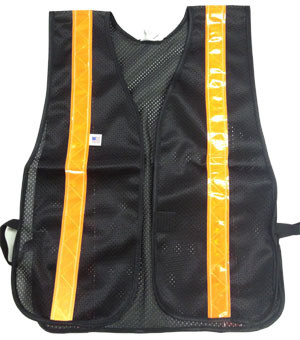 Soft Mesh Black Safety Vests with Orange Stripes pic 2