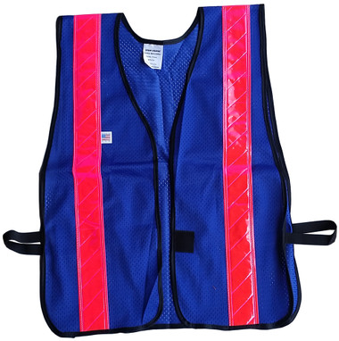 Soft Mesh Blue Safety Vests with Pink Stripes pic 1