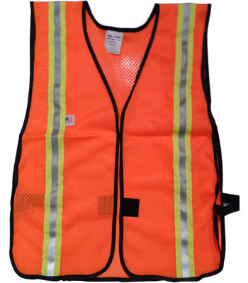 Orange Soft Mesh Safety Vests with 1.5 Inch Yellow/Silver Stripes Pic 3