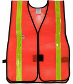 Orange PVC Coated Safety Vests with 1.5 Inch Lime Stripes Pic 3