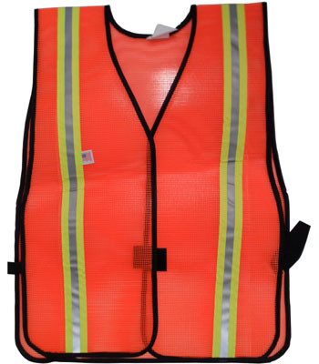 Orange PVC Coated Safety Vests with 1.5 Inch Yellow/Silver Stripes Pic 3