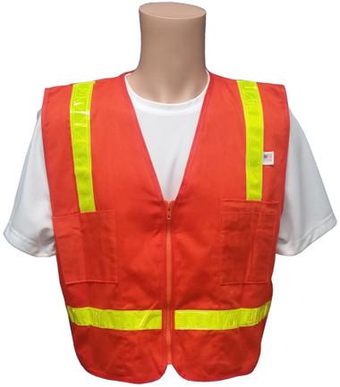 Surveyors Safety Vest Orange with Lime Stripes