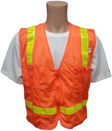MESH Surveyors Safety Vest Orange Lime Stripes