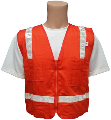 Orange Surveyors Safety Vest with Silver Stripes and Pockets