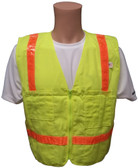 Lime Surveyors Safety Vest with Orange Stripes and Pockets