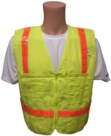 Lime Surveyors Safety Vest with Orange Stripes and Pockets