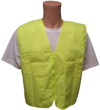 Lime Plain Solid Material Safety Vests with Pockets