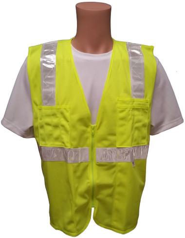 Lime SURVEYOR Safety Vest CLASS 2 with Silver Stripes