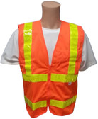 ANSI 2004 Sleeveless Class 2 Double Stripe Orange Safety Vests - Lime Stripes Front