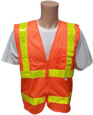 ANSI 2004 Sleeveless Class 2 Double Stripe Orange Mesh Safety Vests -Lime Stripes Front