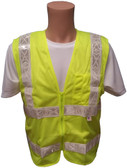 ANSI 2004 Sleeveless Class 2 Double Stripe LIME Mesh Safety Vests - Silver Stripes Front
