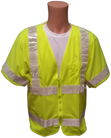 ANSI 2004 SLEEVED Class 3 Double Stripe LIME Safety Vests - Silver Stripes