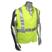 Arc Flame Resistant Lime, Class 2 Sleeveless Vest - Silver Stripes -  Front View in Daylight