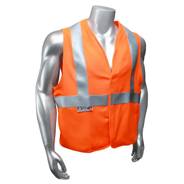Arc Flame Resistant Orange, Class 2 Sleeveless Vest -  Front View in Daylight