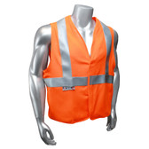 Arc Flame Resistant Orange, Class 2 Sleeveless Vest - Silver Stripes Front View in Daylight
