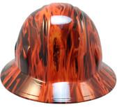 Burning Flames Small Skull Hydro Dipped Hard Hats - Full Brim Style 1