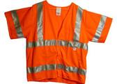 Radians Arc Flame Resistant Orange Sleeved, Class 3 Vest - Silver Stripes