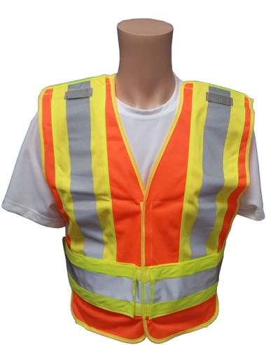 ANSI 207-2006 Public Service Safety Vests ~ Orange with Lime/Silver Stripes ~ 5 point Velcro Tear-Away