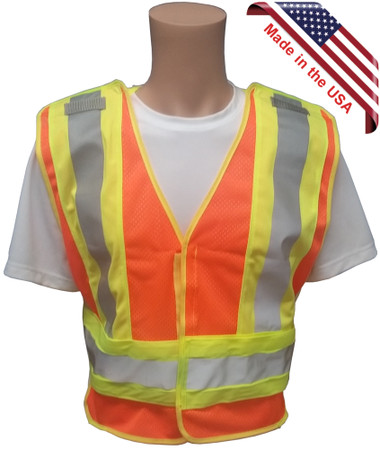 ANSI 207-2006 Public Service Safety Vests ~ MESH Orange with Lime/Silver Stripes ~ 5 point Velcro Tear-Away Main Pic
