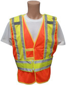 Orange Class II MESH First Responder Safety Vest ~ Lime/Silver Stripes and 5 Point Tear-Away