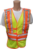 Lime Class II MESH First Responder Safety Vest ~ Orange/Silver Stripes and 5 Point Tear-Away