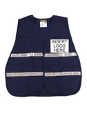 Blue Incident Command Safety Vests, Silver Stripes w/ Clear Pocket Front pic 1
