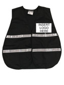 Black Incident Command Safety Vests, Silver Stripes w/ Clear Pocket Front pic 1