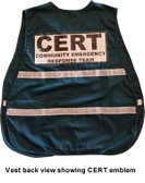 Incident Command Safety Vests GREEN with Silver Stripes ~ CERT LOGO on FRONT AND BACK Pic 3