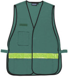 Incident Command Safety Vests GREEN with Silver Stripes Clear Pockets non CERT