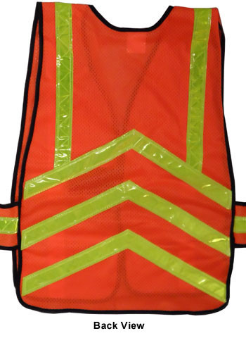Chevron Safety Vests Orange Mesh with Lime Stripes pic 5