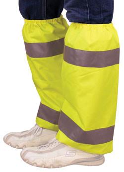 Hi Viz Lime Color Leg Gaiters with Silver Stripes Pic 1