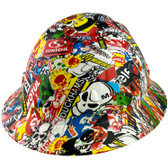 Sticker Bomb Hyrdro Dipped Hard Hats Full Brim Style