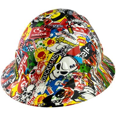 Sticker Bomb Hyrdro Dipped Hard Hats Full Brim Style