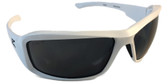 Edge Brazeau Safety Glasses ~ White Frame, Smoke Lens