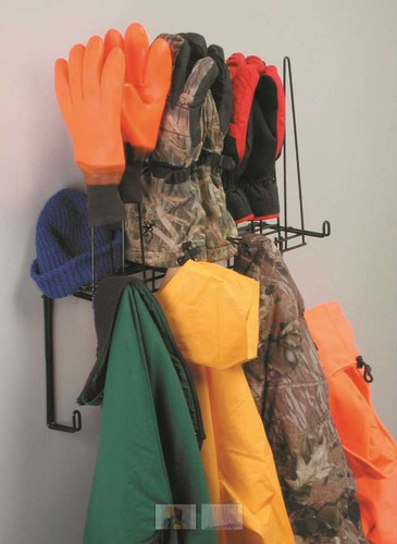 Coat, Glove and Hat Rack, Holds 4pr. Gloves, 8 Hooks for Coats, Shelf for hats