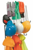 PPE Storage Rack, Holds 4 Hard Hats, 4pr. Gloves, 4 sets of rainwear, Shelf for hats or earmuffs - Detail