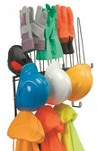 PPE Storage Rack, Stainless Steel, Holds 4 Hard Hats, 4pr. Gloves, 4 sets of rainwear, Shelf for hats or earmuffs