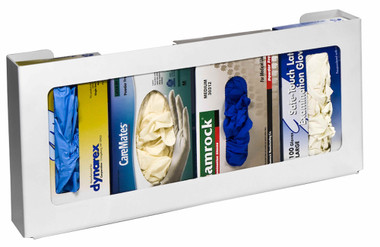 4-Box Horizontal Plastic Box Glove Dispenser, WHITE HEAVY-DUTY PLASTIC