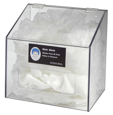 Hair Net/Beard Cover/Shoe Cover Dispenser - 1 Compartment with clear lid, CLEAR PETG PLASTIC