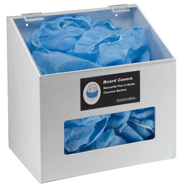 Hair Net/Beard Cover/Shoe Cover Dispenser - 1 Compartment with clear lid, WHITE HEAVY-DUTY PLASTIC