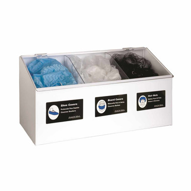 Hair Net/Beard Cover/Shoe Cover - 3 Compartment Dispenser, WHITE HEAVY-DUTY PLASTIC with clear lid