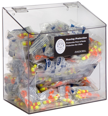 300-Pair Foam Ear Plug Dispenser with lid, CLEAR PLASTIC