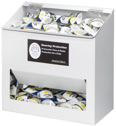 300-Pair Foam Ear Plug Dispenser with lid, WHITE HEAVY-DUTY PLASTIC