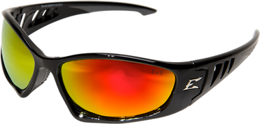 Edge Baretti Safety Glasses ~ Black Frame, Aqua Precision Red Mirror Lens