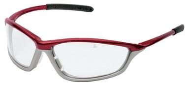 Crews Shock Safety Glasses ~ Crimson Frame ~ Fog Free Clear Lens